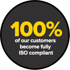100% of our customers become fully ISO compliant